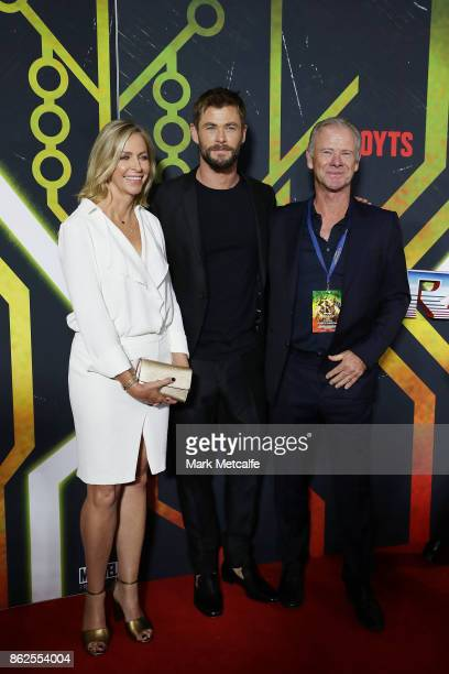 Chris Hemsworth with his parents Craig and Leonie attend the Thor Ragnarok Sydney Screening Event on October 15 2017 in Sydney Australia