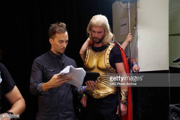 Chris Hemsworth with producer James Longman during production of Thor Live 4D during 'The Late Late Show with James Corden' Thursday November 2 2017...