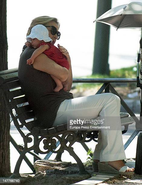 Chris Hemsworth's daughter India Rose Hemsworth and mother-in-law Cristina Medianu are seen on July 2, 2012 in Madrid, Spain.