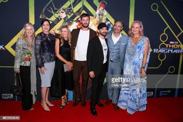 Chris Hemworth Brad Winderbaum and Taika Waititi pose with Queensland Premiere Annastacia Palaszczuk and guest ahead of the Thor Ragnarok Australian...