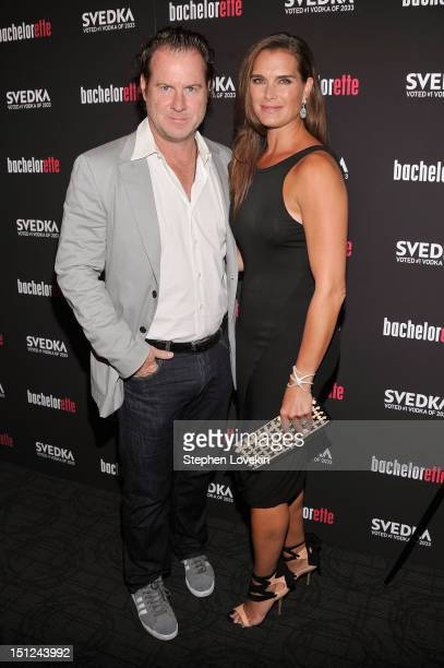 Chris Henchy and Brooke Shields attend the Bachelorette New York Premiere at Sunshine Landmark on September 4 2012 in New York City