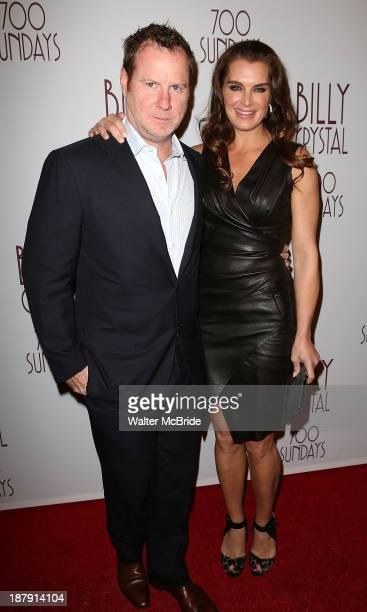 """Chris Henchy and Brooke Shields attend the """"Billy Crystal - 700 Sundays"""" Broadway Opening Night Performance at the Imperial Theatre on November 13,..."""