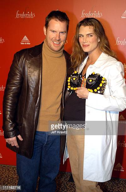 Chris Henchy and Brooke Shields during Frederick's of Hollywood Debuts Fall 2003 Collection at Smashbox Studios in Culver City, CA, United States.