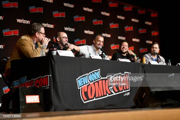 "Chris Henchy James ""Murr"" Murray Joe Gatto Sal Vulcano and Brian ""Q Quinn speak onstage at the Four Jokers Seven Seasons One Panel TruTV's..."