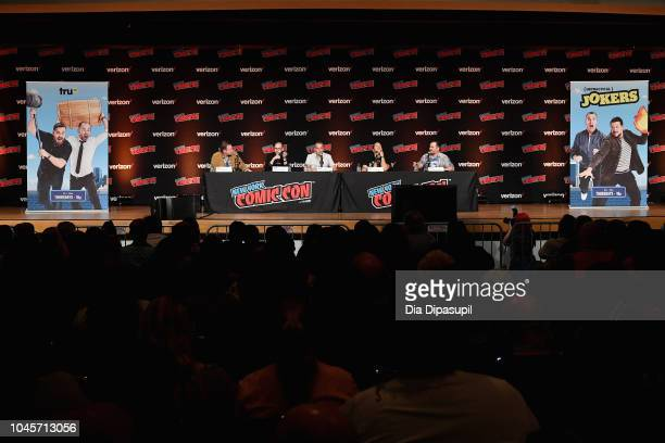 "Chris Henchy James ""Murr"" Murray Joe Gatto Sal Vulcano and Brian ""Q Quinn speak onstage at the Four Jokers Seven Seasons One Panel TruTV's..."