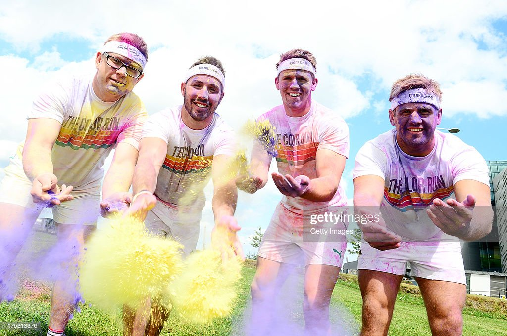 Chris Henry, Craig GIlroy, Paddy Wallace of Ulster Rugby Club and Tom Wallace (British Lion) promote The Colour Run presented by Dulux on August 2, 2013 in Belfast Ireland. known as the happiest 5km on the planet, on August 24 in Belfast. Runners of all shapes, sizes and speeds wearing white clothing that is a blank canvas for the kaleidoscope of colours they encounter around The Colour Run course. At each kilometer a different colour of powder is thrown in the air with the runners becoming a constantly evolving artwork. At the end of the course runners are greeted by the Colour Festival where the air is filled with music and stunning colour powder bursts creating a vibrant party atmosphere. www.thecolourrun.co.uk [media contact alex.coulson@img.com] on August 2nd 3012 in Belfast Northern Ireland.