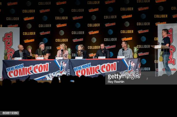 Chris Henze Corbin Bernsen Kirsten Nelson Maggie Lawson James Roday and Steve Franks and moderator Michael Ausiello speak at the 'Psych' reunion and...