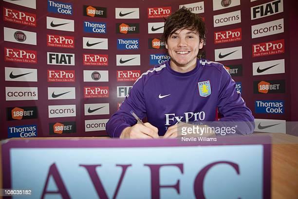 Chris Herd of Aston Villa signs a new contract at the Aston Villa Training Ground at Bodymoor Heath on January 14 2011 in Birmingham England