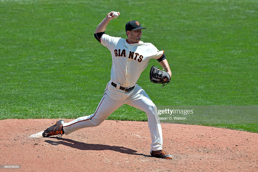 Chris Heston #53 of the San Francisco Giants pitches against the Philadelphia Phillies during the seventh inning at AT&T Park on July 12, 2015 in San Francisco, California. The San Francisco Giants defeated the Philadelphia Phillies 4-2.