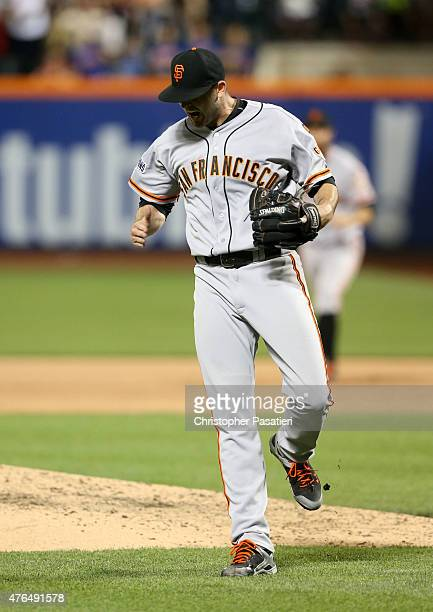 Chris Heston of the San Francisco Giants reacts after the final out of the game after pitching a nohitter against the New York Mets at Citi Field on...