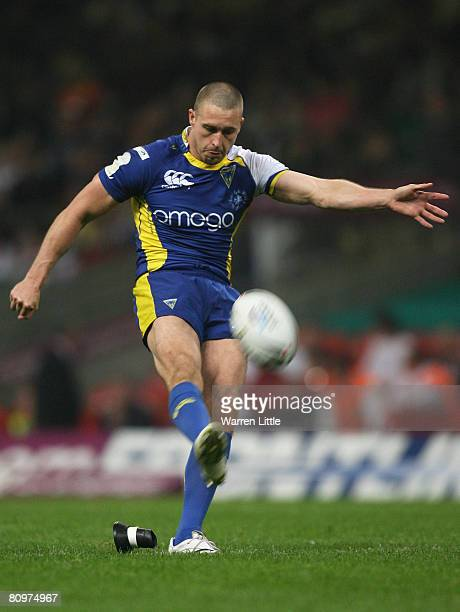 Chris Hicks of Warrington kicks at goal during the engage Super League 'Millennium Magic' match between Huddersfield Giants and Warrington Wolves at...