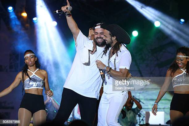 Chris Hierro and Kes Dieffenthaller perform during the Hyatt LIME fete at Hyatt Regency Trinidad as part of Trinidad and Tobago Carnival on February...