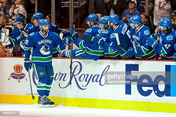 Chris Higgins of the Vancouver Canucks celebrates a goal against the Pittsburgh Penguins on January 7, 2014 at Rogers Arena in Vancouver, British...