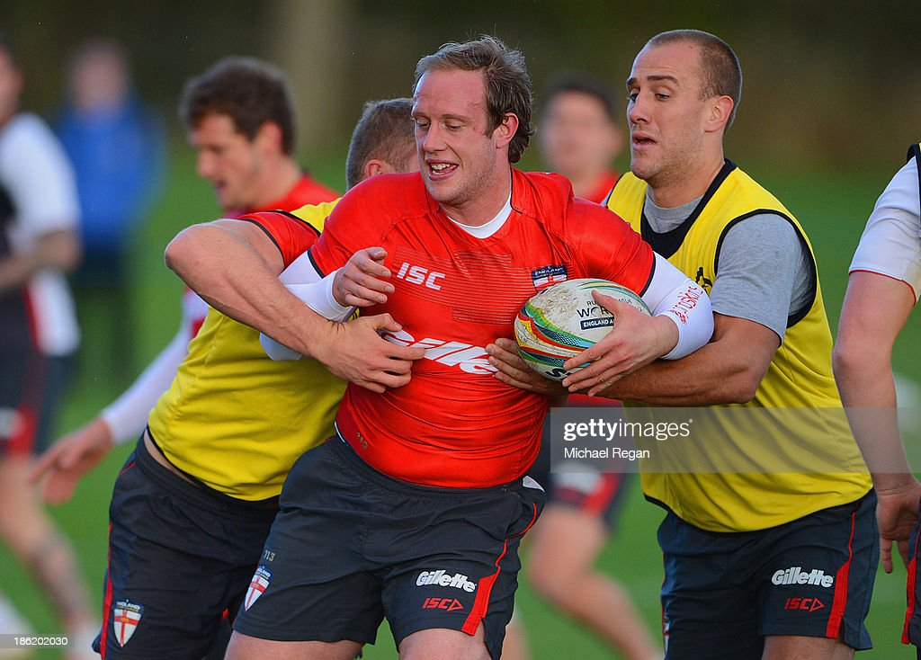 Chris Hill in action during the England training session for the Rugby League World Cup on October 29, 2013 in Loughborough, England.
