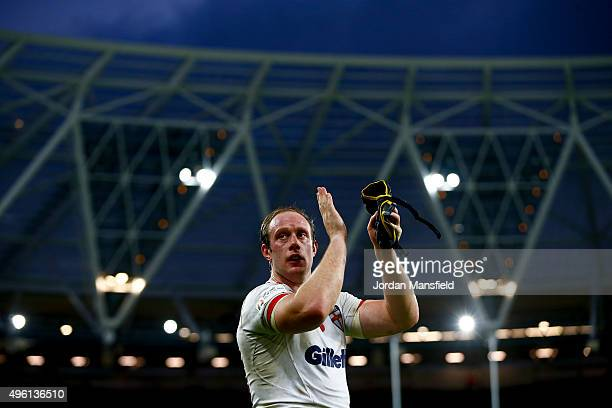 Chris Hill of England acknowledges the crowd after the International Rugby League Test Series match between England and New Zealand at the Olympic...