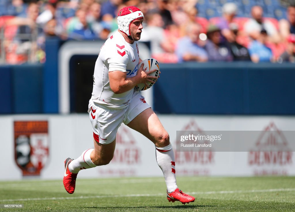 Chris Hill of England runs the ball back during the second half of a Rugby League Test Match between England and the New Zealand Kiwis at Sports Authority Field at Mile High on June 23, 2018 in Denver, Colorado.