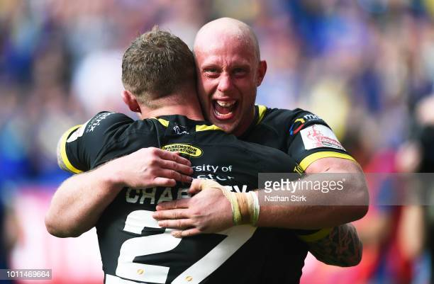 Chris Hill of Warrington celebrates after during the Ladbrokes Challenge Cup Semi Final match between Warrington Wolves and Leeds Rhinos at Macron...