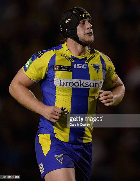 Chris Hill of Warrington during the Super League Qualifying Semi Final between Warrington Wolves and Huddersfield Giants at The Halliwell Jones...