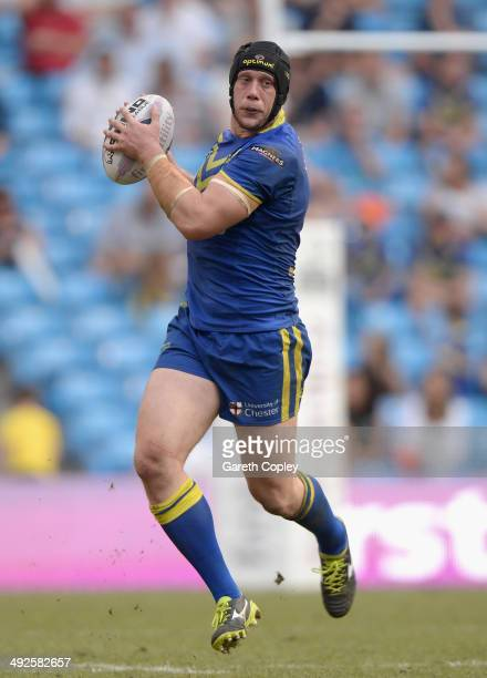 Chris Hill of Warrington Wolves in action during the Super League match between Warrington Wolves and St Helens at Etihad Stadium on May 18 2014 in...
