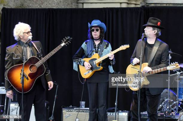 Chris Hillman and Roger McGuinn perform during the Sweetheart of the Rodeo Reunion at The Mountain Winery on July 29, 2018 in Saratoga, California.