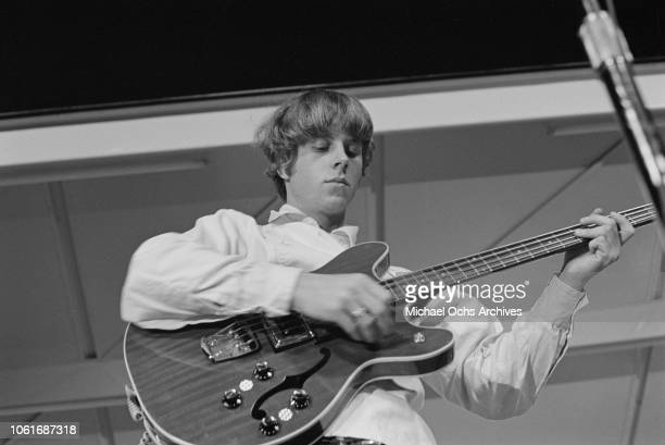 Chris Hillman bass player for American rock band The Byrds performs at Soundblast '66 at the Yankee Stadium in New York City 10th June 1966