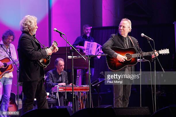 Chris Hillman Herb Pedersen perform on stage during The Life Songs of Emmylou Harris An All Star Concert Celebration at DAR Constitution Hall on...