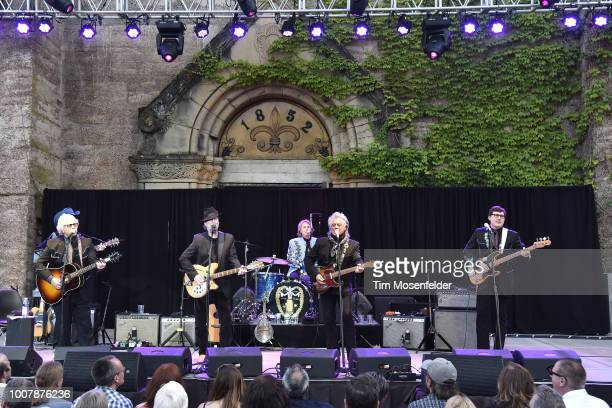 Chris Hillman, Kenny Vaughan, Roger McGuinn, Harry Stinson, Marty Stuart, and Chris Scruggs perform during the Sweetheart of the Rodeo Reunion at The...