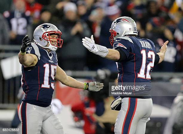 Chris Hogan and Tom Brady of the New England Patriots celebrate their touchdown against the Pittsburgh Steelers during the second quarter in the AFC...