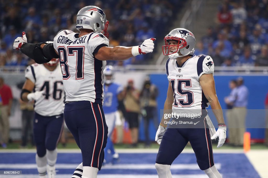 Chris Hogan #15 of the New England Patriots celebrates a first half touchdown with Rob Gronkowski #87 while playing the Detroit Lions during a pre-season game at Ford Field on August 25, 2017 in Detroit, Michigan.