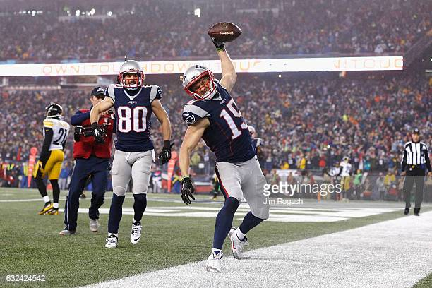 Chris Hogan of the New England Patriots celebrates after scoring a touchdown during the first quarter against the Pittsburgh Steelers in the AFC...