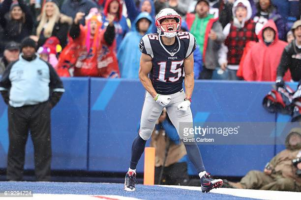 Chris Hogan of the New England Patriots celebrates his touchdown against the Buffalo Bills during the first half at New Era Field on October 30 2016...