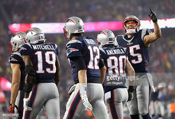 Chris Hogan of the New England Patriots celebrates with teammates after scoring a touchdown during the first quarter against the Pittsburgh Steelers...