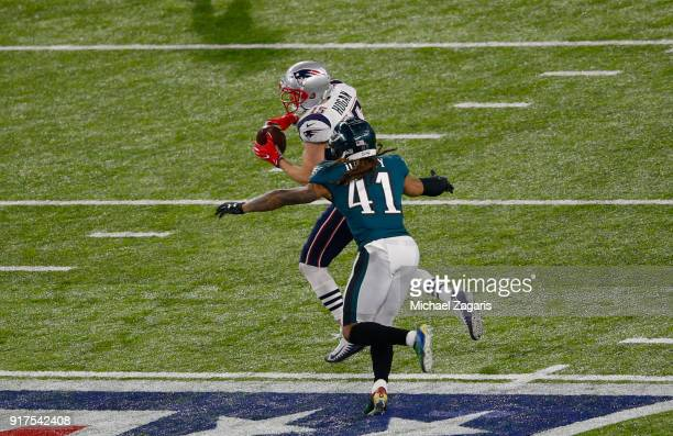 Chris Hogan of the New England Patriots makes a reception for a 16yard gain during the game against the Philadelphia Eagles in Super Bowl LII at US...