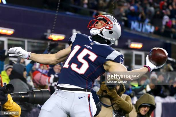 Chris Hogan of the New England Patriots reacts after catching a touchdown pass in the third quarter of the AFC Divisional Playoff game against the...