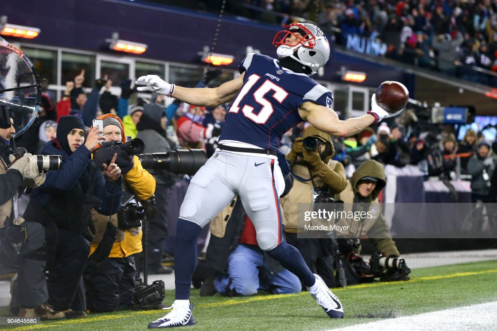Chris Hogan #15 of the New England Patriots reacts after catching a touchdown pass in the third quarter of the AFC Divisional Playoff game against the Tennessee Titans at Gillette Stadium on January 13, 2018 in Foxborough, Massachusetts.