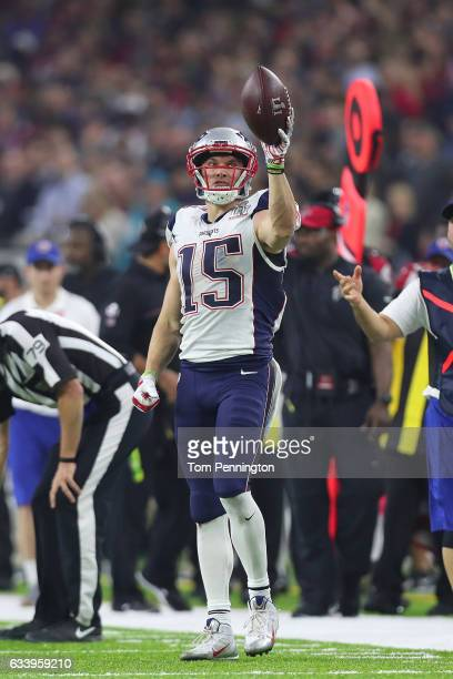 Chris Hogan of the New England Patriots reacts against the Atlanta Falcons during the fourth quarter during Super Bowl 51 at NRG Stadium on February...
