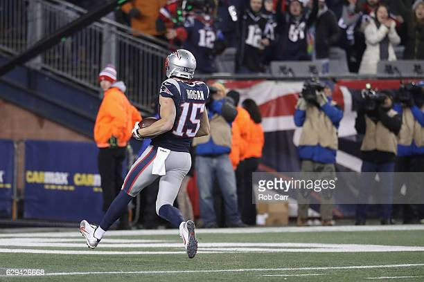 Chris Hogan of the New England Patriots scores a 79yard touchdown during the fourth quarter against the Baltimore Ravens at Gillette Stadium on...