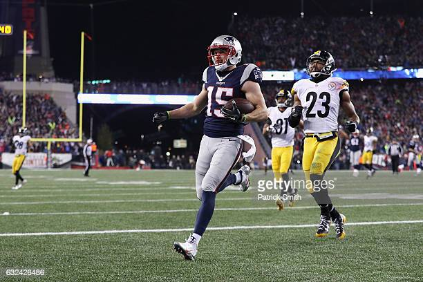 Chris Hogan of the New England Patriots scores a touchdown during the second quarter against the Pittsburgh Steelers in the AFC Championship Game at...
