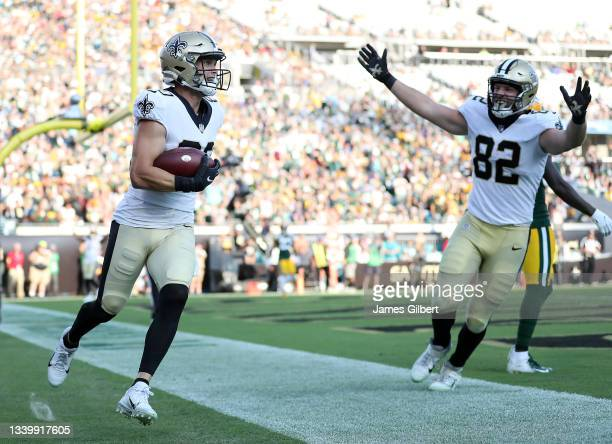 Chris Hogan of the New Orleans Saints celebrates after a touchdown reception against the Green Bay Packers during the third quarter at TIAA Bank...