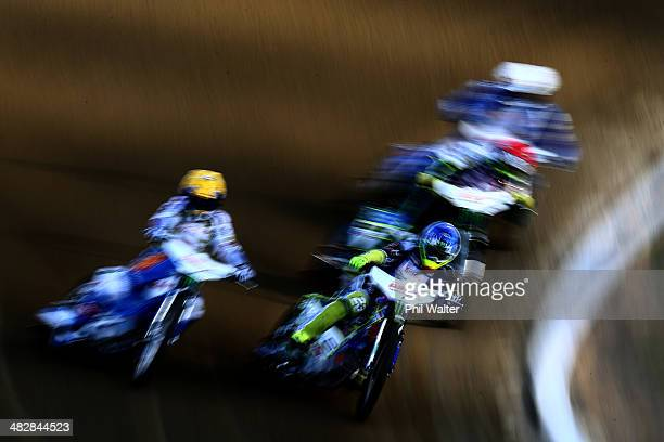Chris Holder of Australia competes in the FIM Speedway Grand Prix at Western Springs Speedway on April 5 2014 in Auckland New Zealand
