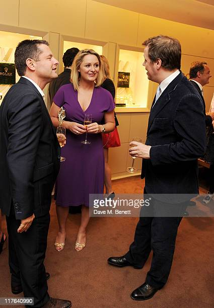 Chris Hollins Carol Kirkwood and Tom Parker Bowles attend the opening of the Rolex store at One Hyde Park on June 29 2011 in London England
