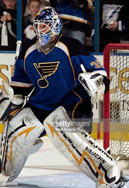 Chris Holt of the St Louis Blues warms up before the game against the Colorado Avalanche after being called up from the Peoria Rivermen on February 7...