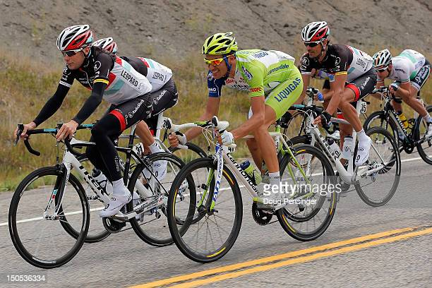 Chris Horner of the USA riding for RadhioshackNissan Ivan Basso of Italy riding for LiquigasCannondale and Andreas Kloden of Germany riding for...