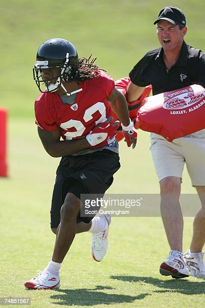 Chris Houston of the Atlanta Falcons runs a drill during Rookie Camp at the Atlanta Falcons Training Complex June 21, 2007 in Flowery Branch, Georgia.