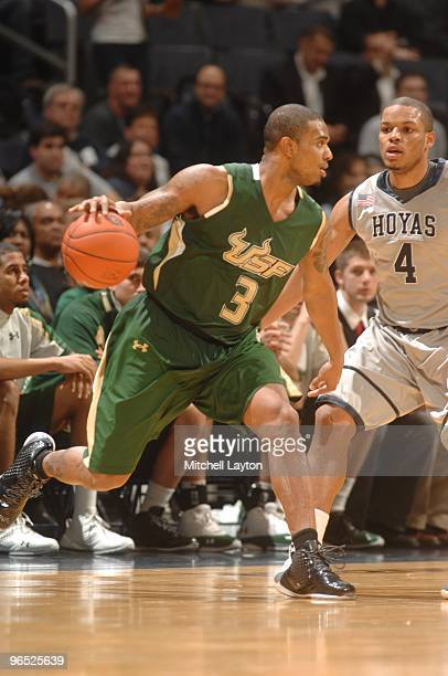 Chris Howard of the South Florida Bulls dribbles the ball during a college basketball game against the Georgetown Hoyas on February 3 2010 at the...