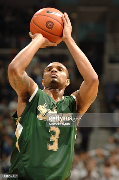 Chris Howard of the South Florida Bulls takes a jump shot during a college basketball game against the Georgetown Hoyas on February 3 2010 at the...