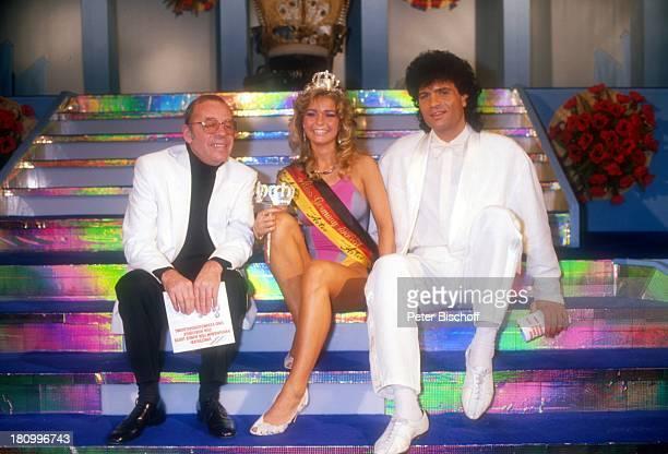 Chris Howland Miss Germany Anja HörnichClüver Costa Cordalis Oberstdorf Miss GermanyWahl 1986 Moderator Model Sänger Promis Prominente Prominenter