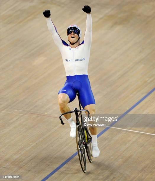 Chris Hoy celebrates after winning gold in the Keirin at the Summer Olympic Games in Beijing China 16th August 2008.