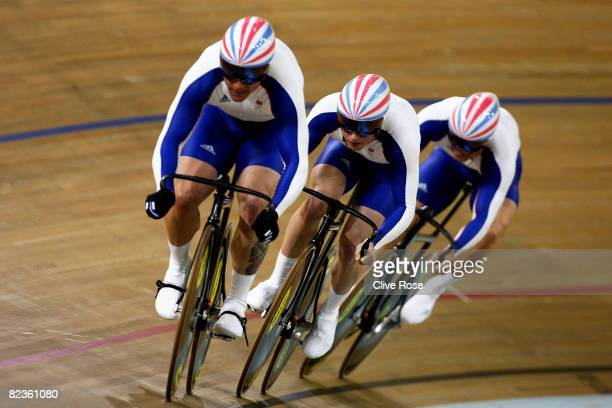 Chris Hoy Jason Kenny and Jamie Staff of Great Britain compete in the team track cycling event at the Laoshan Velodrome on Day 7 of the Beijing 2008...