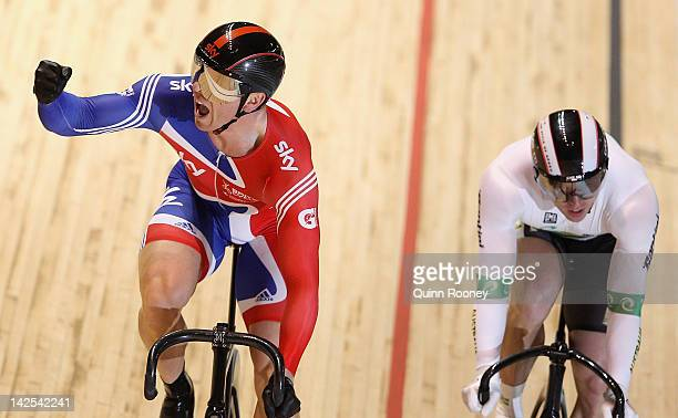 Chris Hoy of Great Britain celebrates beating Shane Perkins of Australia in the Men's Sprint Bronze medal race during day four of the 2012 UCI Track...